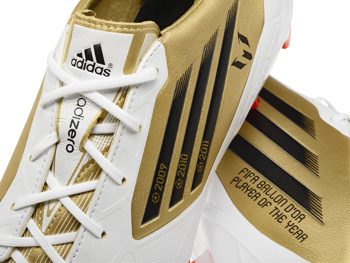fec441073 Adidas has designed the boots especially to celebrate Leo s third  consecutive FIFA Ballon d Or trophy. Messi will also wear his celebratory golden  F50 ...