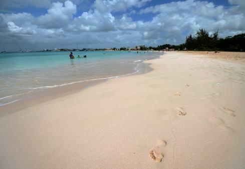 Tourist families enjoy at a beach in Bri