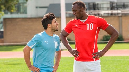 Usain Bolt gives Sergio Agüero a unique lesson of speed ahead of the Manchester Derby