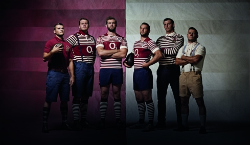 England players model the new alternate kit and 1871 lifestyle collection from Canterbruy and the RFU (Richard Wigglesworth, Ben Morgan, Geoff Parling, Ben Foden, Tom Wood and Danny Care)