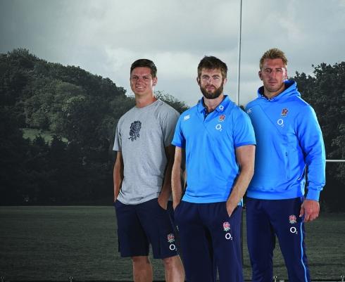Freddie Burns, Geoff Parling and Chris Robshaw wearing the Canterbury England Training Kit