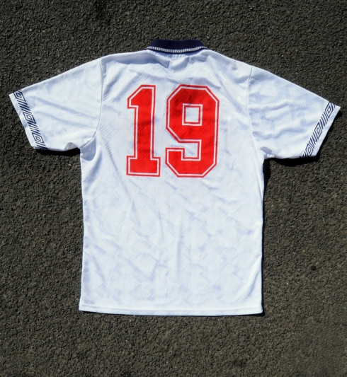 England match shirt worn by Paul Gascoigne during Italia _90_s warm up game 4